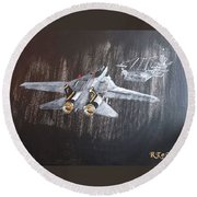 Wet Night Landing Round Beach Towel