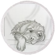 Wet Rottie Pup Round Beach Towel