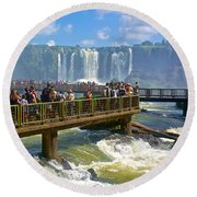 Wet Walkways In The Iguazu River In Iguazu Falls National Park-brazil  Round Beach Towel