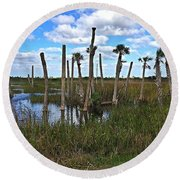 Wetland Palms Round Beach Towel