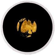 Wetland Wildlife Massive Moon .png Round Beach Towel
