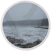 Weymouth Back River In A Snow Storm Round Beach Towel
