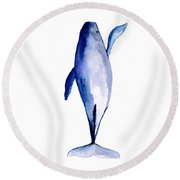 Whale 1 Round Beach Towel