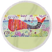 Whaling With A Turtle Round Beach Towel