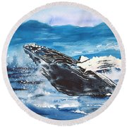 Whale Breaching Round Beach Towel