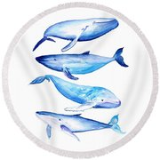 Whale Friends Round Beach Towel