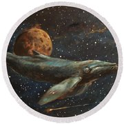 Whale Of The Universe Round Beach Towel
