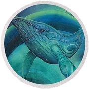 Whale Tohora By Reina Cottier Round Beach Towel