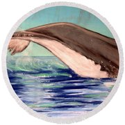 Whale Tail    Pastel   Sold Round Beach Towel