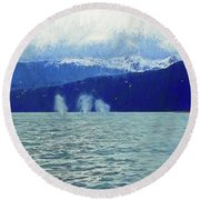 Whales Blowing Round Beach Towel