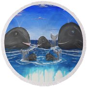 Whales Tail Waterfall Round Beach Towel
