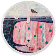 Whale's Tale The Beginning Of The End Round Beach Towel