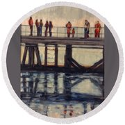 Wharf Reflections@ Halifax N. S. Round Beach Towel