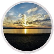 What A Sunset Round Beach Towel