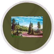 What Can The Poor Deer Do Round Beach Towel