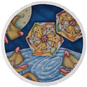What Dogs Dream Round Beach Towel