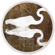 What The Egret Caught Round Beach Towel