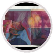 What's On The Artists Mind II Round Beach Towel