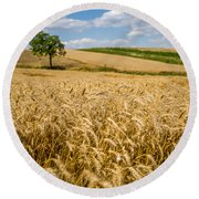 Wheat And A Tree Round Beach Towel