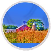 Wheat Farm Near Gettysburg Round Beach Towel