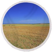 Wheat Field After Harvest Round Beach Towel