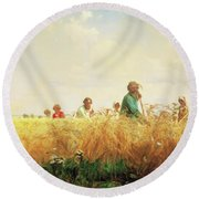 Wheat Field In The Summer Round Beach Towel