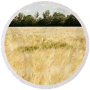 Wheat Field Round Beach Towel