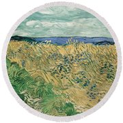 Wheat Field With Cornflowers At Wheat Fields Van Gogh Series, By Vincent Van Gogh Round Beach Towel