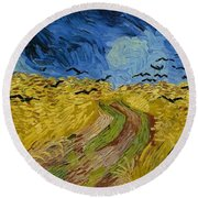 Wheat Field With Crows At Wheat Fields Van Gogh Series, By Vincent Van Gogh Round Beach Towel