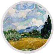 Wheatfield With Cypresses Round Beach Towel