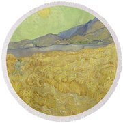 Wheat Field With Reaper At Wheat Fields Van Gogh Series, By Vincent Van Gogh Round Beach Towel