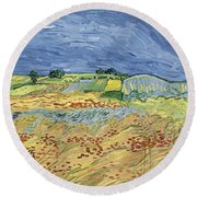 Wheat Field With Stormy Sky Round Beach Towel