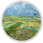 Wheat Fields After The Rain, The Plain Of Auvers Round Beach Towel