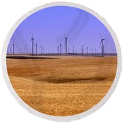 Wheat Fields And Wind Turbines Round Beach Towel