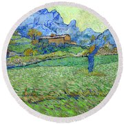 Wheat Fields In A Mountainous Landscape, By Vincent Van Gogh, 18 Round Beach Towel