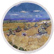 Wheat Fields With Reaper, Auvers Round Beach Towel