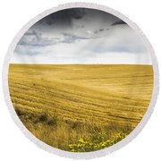Wheat Fields With Storm Round Beach Towel