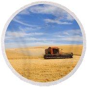 Wheat Harvest Round Beach Towel by Mike  Dawson