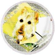 Wheaten Scottish Terrier - During Sickness And Health Round Beach Towel