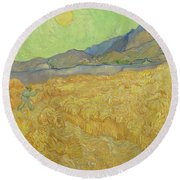 Wheatfield With A Reaper Saint-remy-de-provence, September 1889 Vincent Van Gogh 1853 - 1890 Round Beach Towel
