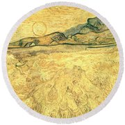 Wheatfield With Reaper And Sun Round Beach Towel
