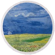 Wheatfields Under Thunderclouds Round Beach Towel