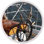 Sailingship Wheel Round Beach Towel