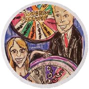 Wheel Of Fortune Pat Sajak And Vanna White Round Beach Towel