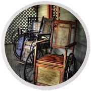 Wheelchairs Of Yesteryear By Kaye Menner Round Beach Towel