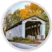 Wheeling Covered Bridge Round Beach Towel