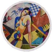 When Modigliani Met Picasso Round Beach Towel