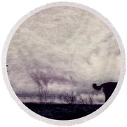 When Night Closes In Round Beach Towel