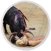 When The Bull Gores The Matador Vii Round Beach Towel