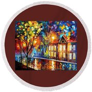 When The City Sleeps 2 - Palette Knife Oil Painting On Canvas By Leonid Afremov Round Beach Towel